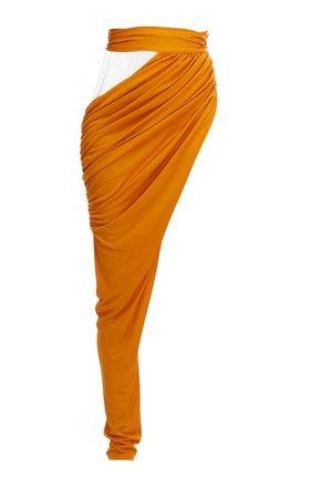 Draped Satin One-Leg Pants by Balmain | Moda Operandi