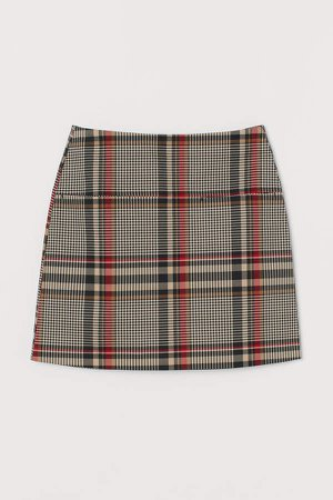 Patterned Twill Skirt - Red