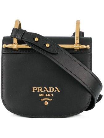 Prada Black Pionniere Leather Cross Body Bag - Farfetch
