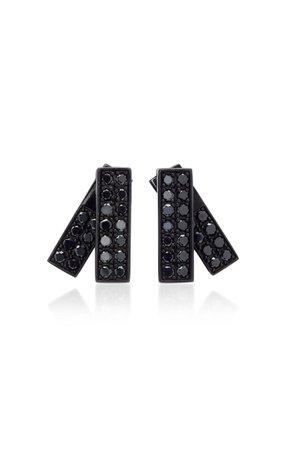 Insignia Rhodium And Black Diamond Earrings by Lynn Ban Jewelry   Moda Operandi