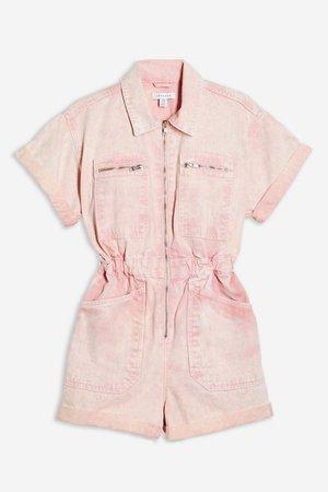 Pink Acid Wash Romper | Topshop pink
