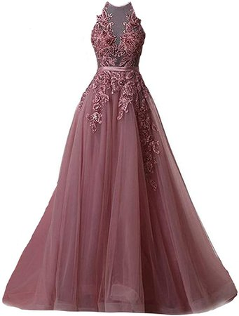Fanciest Women's Halter Prom Dresses Long 2019 Appliques Backless Evening Formal Dress Plum US6 at Amazon Women's Clothing store