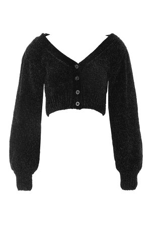 Clothing : Tops : 'Loulou' Black Chenille Slouch Cardigan