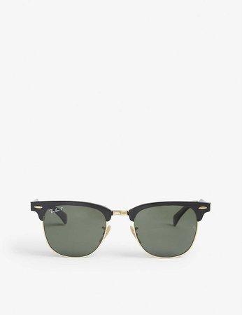RAY-BAN - Clubmaster RB3507 aluminium sunglasses | Selfridges.com