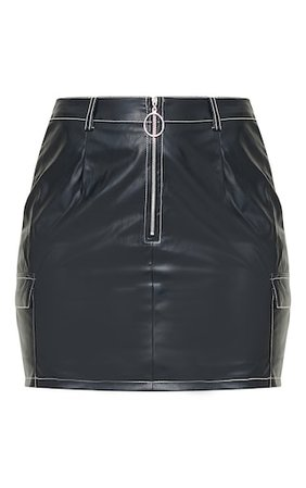 Black Faux Leather Contrast Stitch Mini Skirt | PrettyLittleThing USA