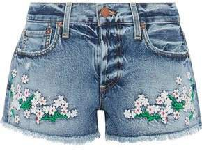Embroidered Distressed Denim Shorts