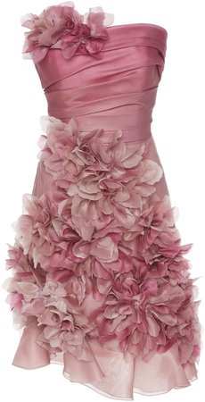 Strapless Silk-Organza Mini Dress