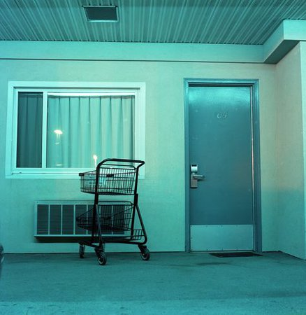 teal aesthetic motel photography