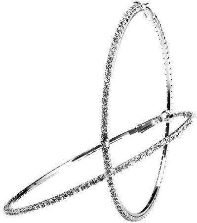 Amazon.com: 80mm Rhinestone Plated Silver Hoop Earrings Big Circle Earring, Silver: Clothing