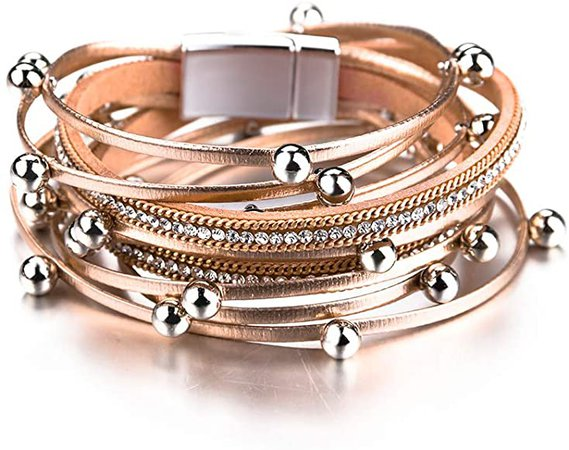 Amazon.com: Fesciory Leather Wrap Bracelet for Women, Leopard Multi-Layer Magnetic Buckle Cuff Bracelet Jewelry: Jewelry