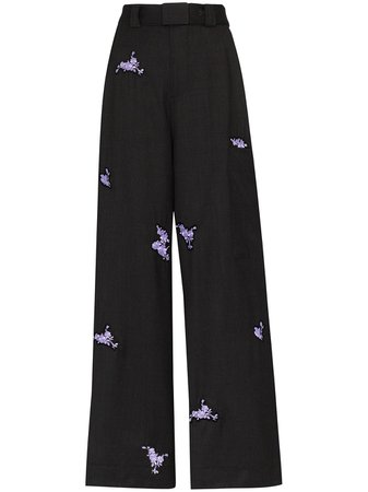 GANNI floral-embroidered Trousers - Farfetch