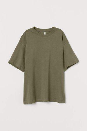 Wide-cut Cotton T-shirt - Green