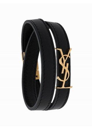 SAINT LAURENT | BRACELETS | Opyum Leather Bracelet | Black | Tessabit Shop Online