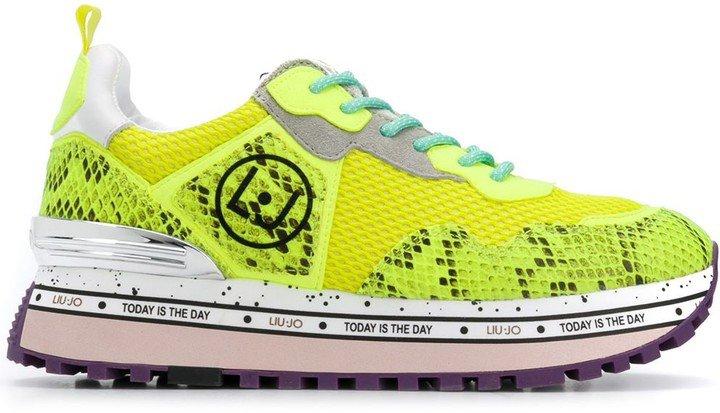 Snakeskin-Pattern Low-Top Sneakers