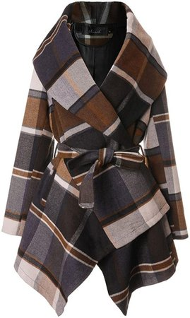 Amazon.com: Chicwish Women's Turn Down Shawl Collar Earth Tone Check/Black White Grid/Black/Plum/Cream/Pink Wool Blend Coat: Clothing