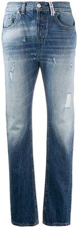 high rise straight-leg jeans