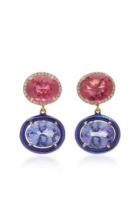 Carol Kauffmann 18K Gold, Tourmaline, Topaz and Diamond Earrings