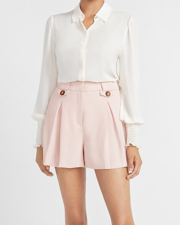 Super High Waisted Button Flap Pleated Shorts