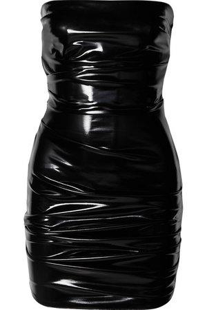 Alex Perry   Carter strapless ruched vinyl mini dress   NET-A-PORTER.COM