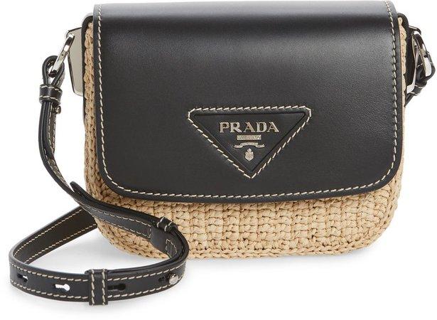 Leather Flap Raffia Shoulder Bag