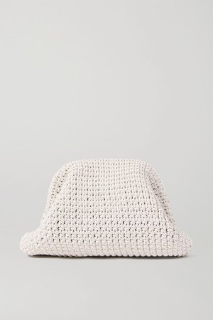 The Pouch Large Crocheted Leather Clutch - White