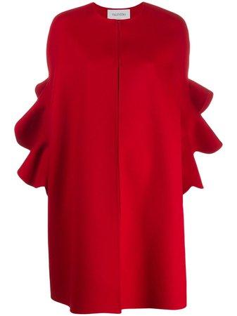 Valentino, Ruffled Sleeve Cape Coat