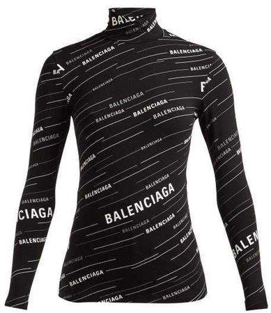 Balenciaga Logo Stripe High Neck Top - Womens - Black White