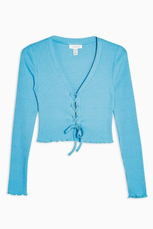 PETITE Bright Blue Ribbed Lace Cardigan | Topshop