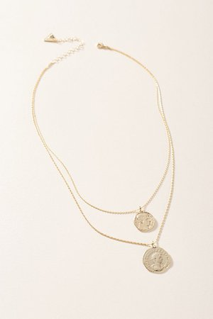 Double Coin Layered Necklace | Anthropologie