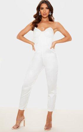 White Satin Corset Detail Bandeau Jumpsuit | PrettyLittleThing
