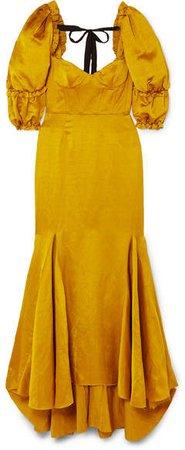 Bow-detailed Ruffled Twill Maxi Dress - Yellow