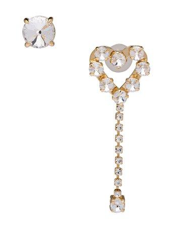 Miu Miu Crystal-Embellished Mismatched Earrings 5JO6122D6D Gold | Farfetch