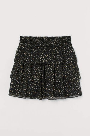 Tiered Chiffon Skirt - Black