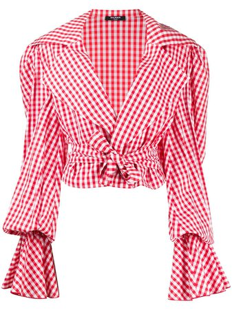 Shop red & white Balmain gingham cropped top with Express Delivery - Farfetch