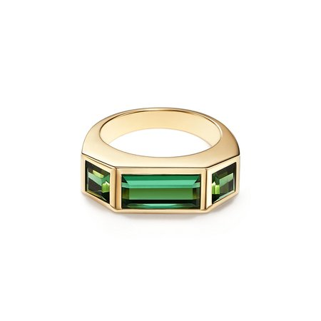 Paloma's Studio baguette three-stone ring in 18k gold with green tourmalines. | Tiffany & Co.