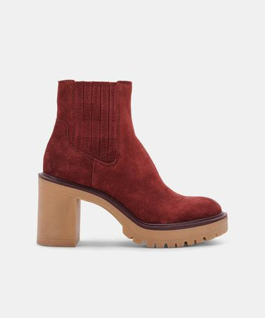 CASTER H2O BOOTIES IN MAROON SUEDE H2O – Dolce Vita