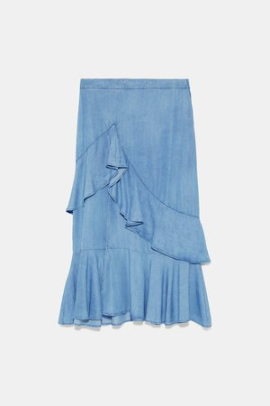 RUFFLED SKIRT - View All-SKIRTS-WOMAN | ZARA United States blue