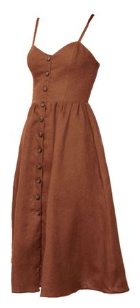 brown midi dress buttons