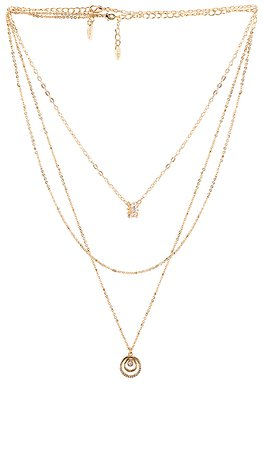 Ettika Circle Pendant Layered Necklace in Gold | REVOLVE