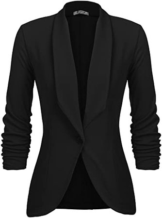 Beyove Women's 3/4 Stretchy Ruched Sleeve Open Front Lightweight Work Office Blazer Jacket with Plus Size (Size S~3XL) at Amazon Women's Clothing store