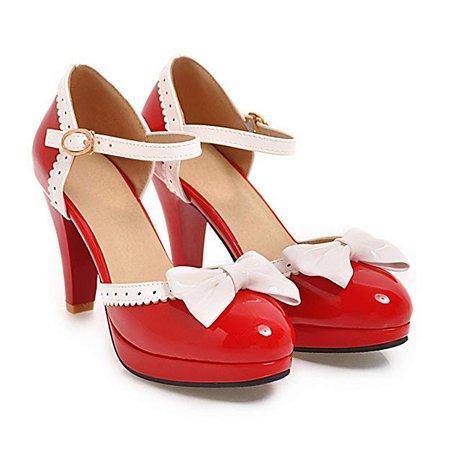Mujeres Sweet Round Toe Sandalias de Vestir de tacón Alto Bombas Zapatos Bowknot Correa de Tobillo Zapatos de Mary Jane Zapatos de Noche de Fiesta: Amazon.es: Amazon.es