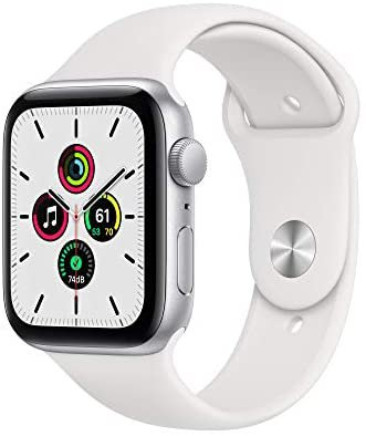 Amazon.com: New Apple Watch SE (GPS, 44mm) - Silver Aluminum Case with White Sport Band: Clothing
