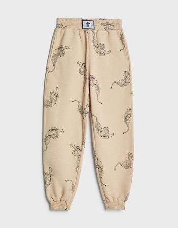 Tiger print joggers - Pants - Woman | Bershka