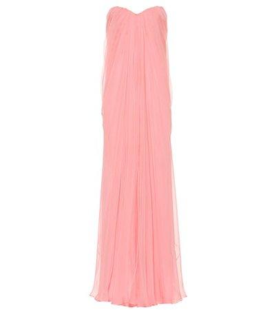 Strapless silk organza gown