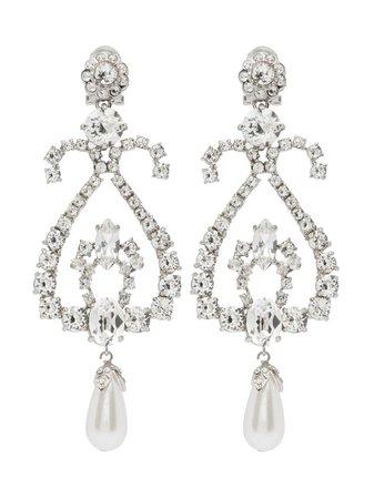 Silver Miu Miu Crystal Earrings | Farfetch.com