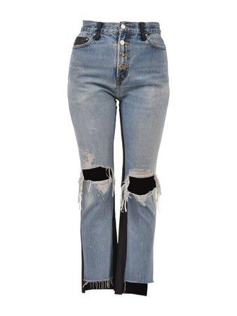 AMIRI AMIRI Leather And Denim Jeans - Blue - 10607577   italist