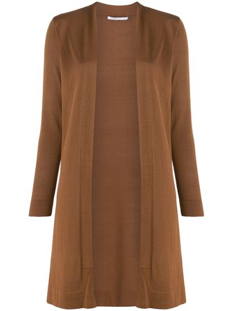 Agnona Long Open Front Cardigan ATG90A4015 Brown   Farfetch