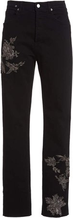 Redemption Embroidered High-Rise Straight-Leg Jeans