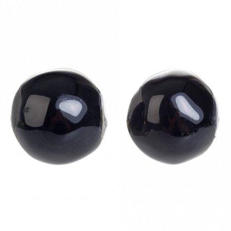 Jackie Brazil small ball stud earrings (black gloss) - Jewellery from Bijouled UK