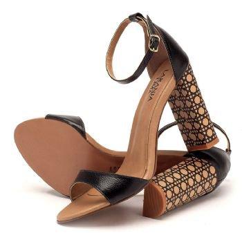 Sandália Salto Alto grosso preta 3412   Laranja Lima Shoes